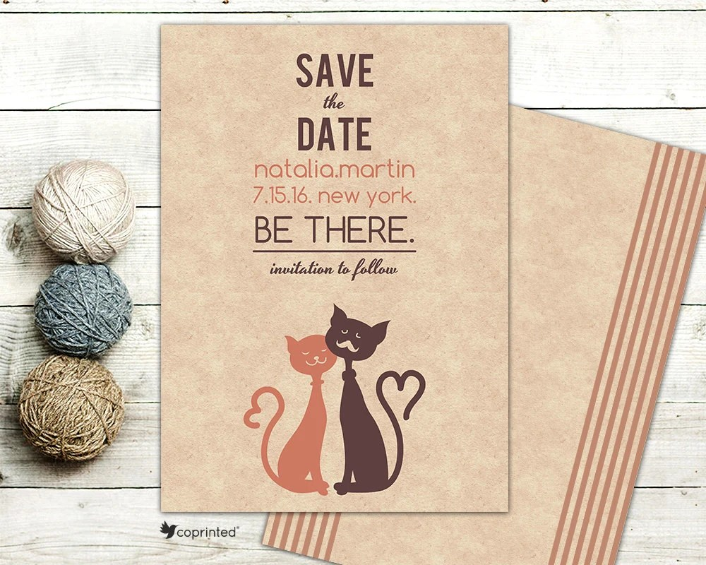Cat Save the Date Cat and Tomcat Save the Date Fun Cute Etsy