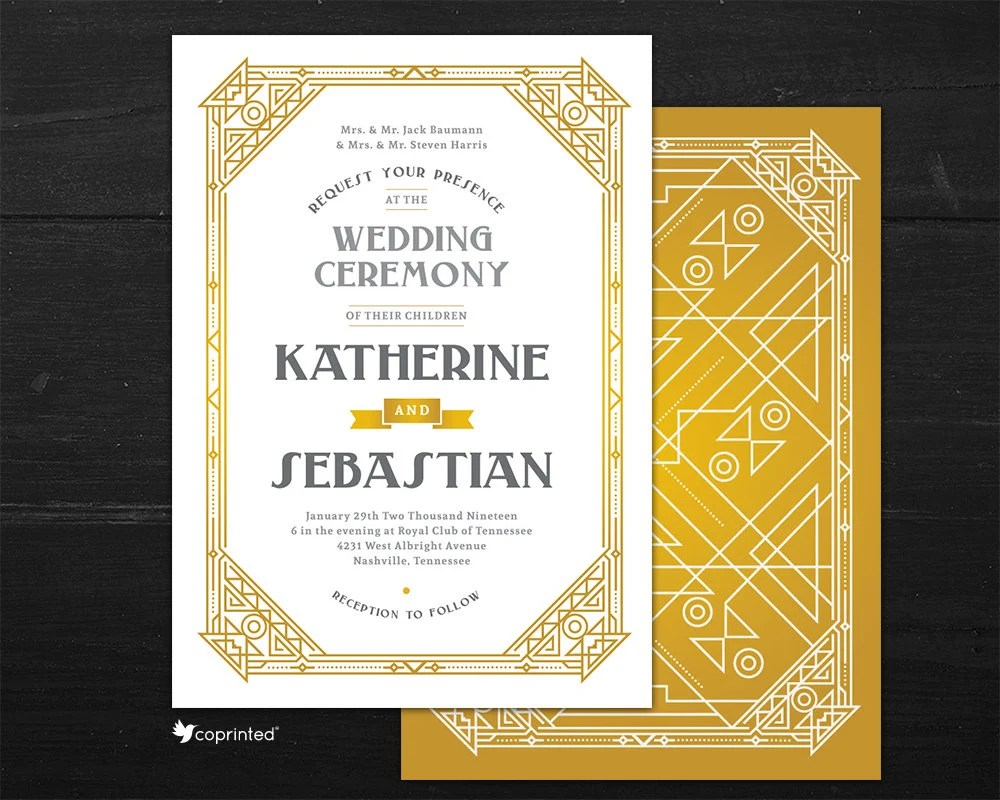 Great Gatsby Theme Wedding Invitation Art Deco Wedding Etsy
