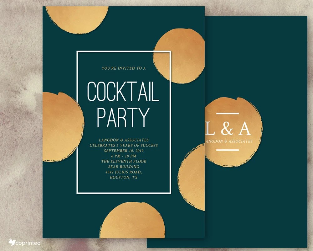 Golden Superscale Dots Cocktail Party Invitation Corporate Etsy