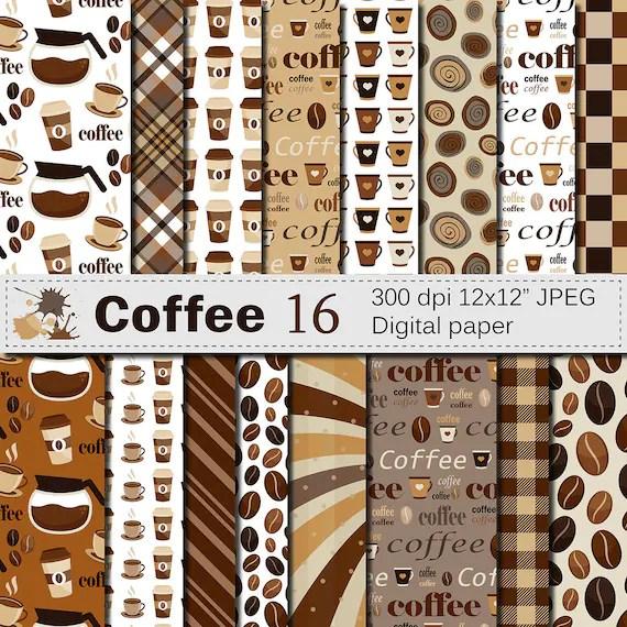 Coffee Digital Paper Set Coffee Bean Digital Paper Coffee Etsy