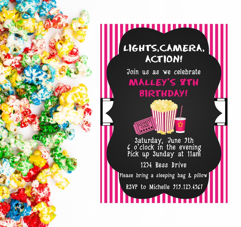 Movie Night Invitation Birthday Movie Night Birthday Party Etsy