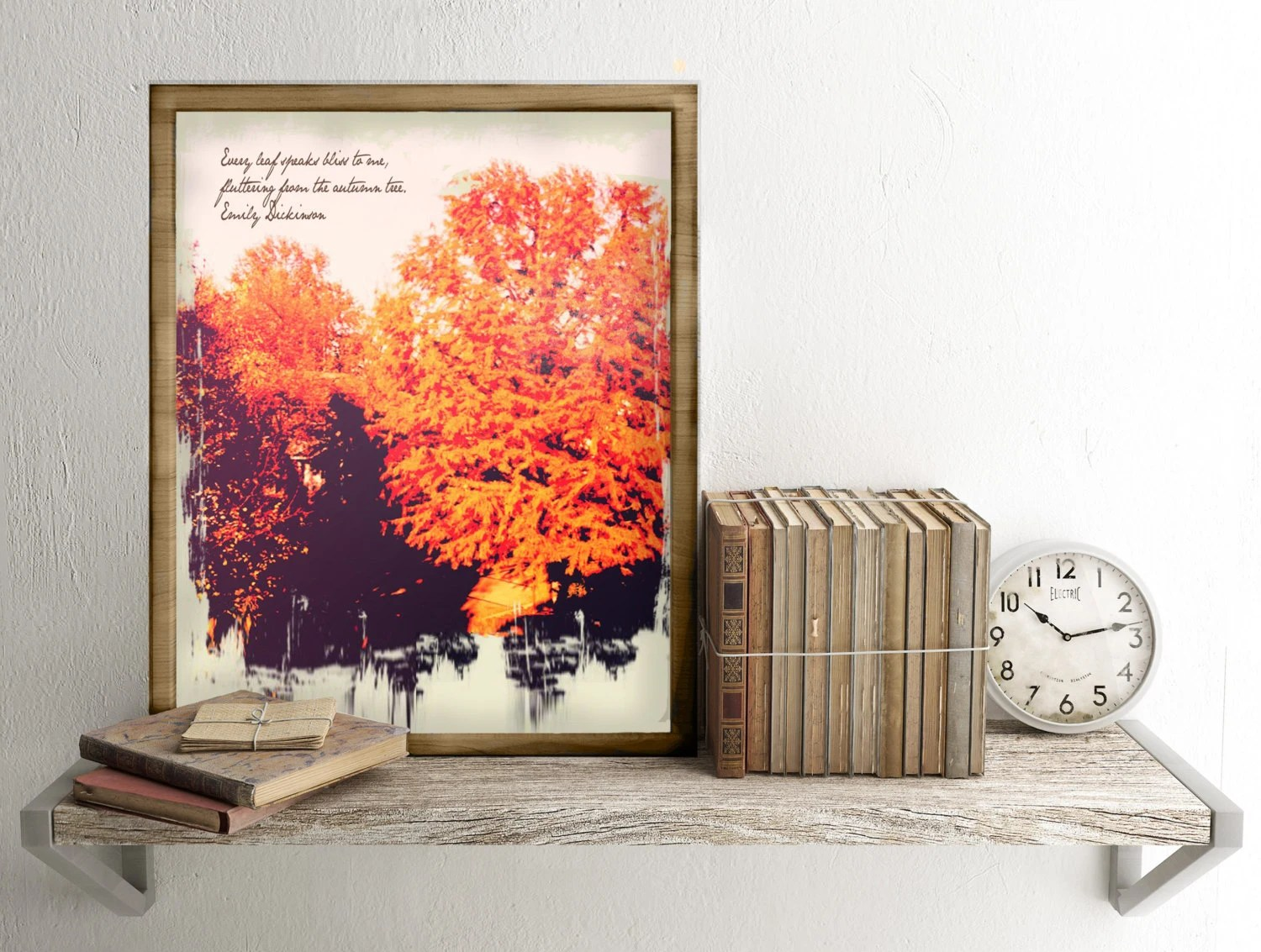 Fall trees printable Emily Dickinson poem print Autumn decor Etsy