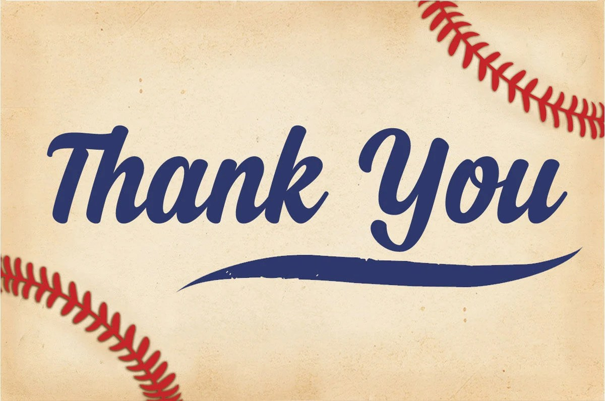 Baby Shower Thank You Cards, Baseball Thank you