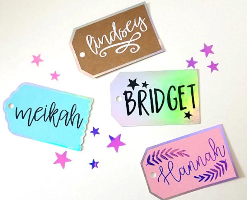 Custom Name Tag Custom Gift Name Tags Holographic Name Etsy
