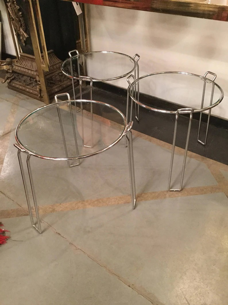 Glass Nesting Tables Sold Modern Chrome And Glass Nesting Tables By Saporiti Italy