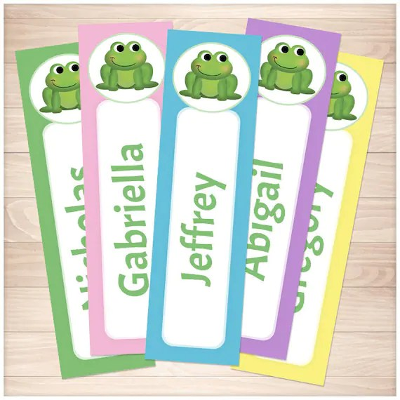 Printable Personalized Frog Bookmarks Colorful Cute Animal Etsy