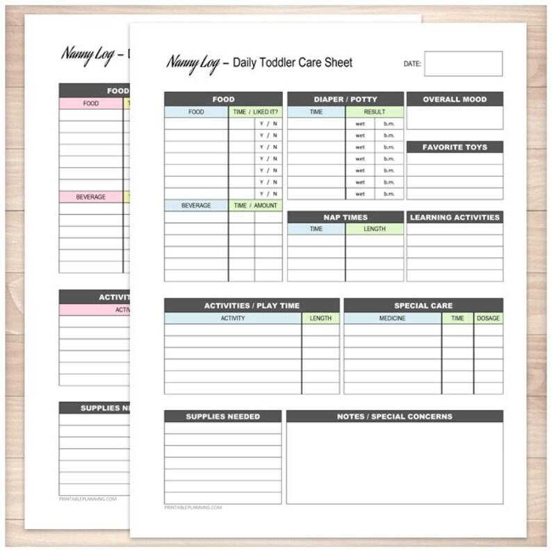 Printable Nanny Log BUNDLE Daily Toddler Care Sheet Etsy