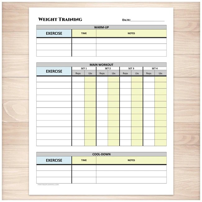 Printable Weight Training Daily Log Workout Tracking Sheet Etsy