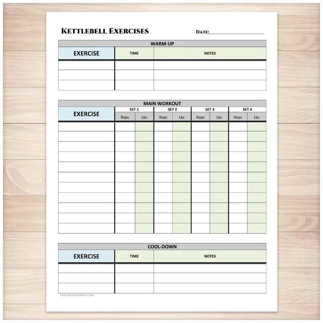 Printable Kettlebell Exercise Log Daily Workout Sheet with Etsy
