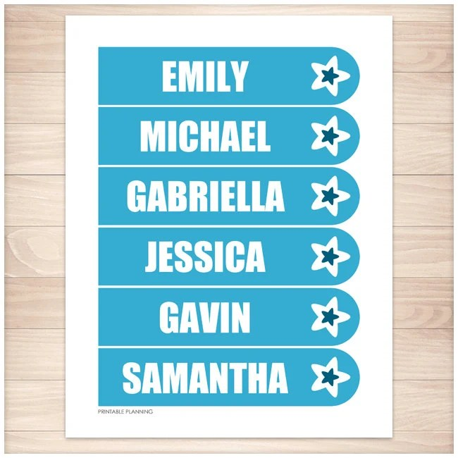 Printable Personalized Blue Bookmarks Star design Editable Etsy