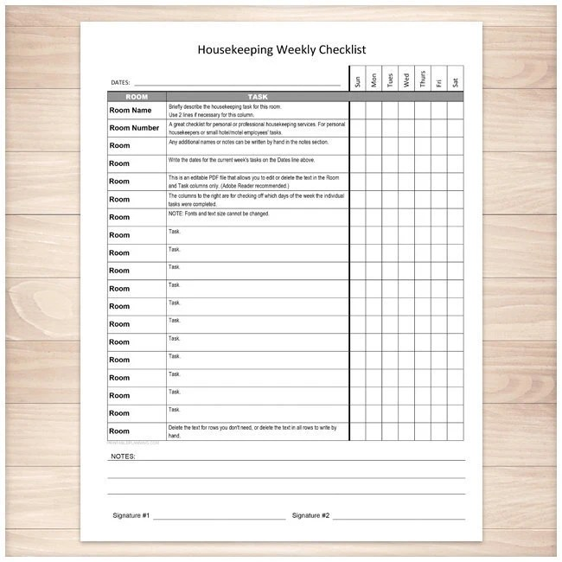 Printable Housekeeping Weekly Checklist Editable PDF Etsy