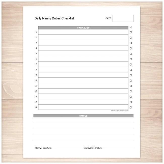Printable Nanny Duties Checklist Daily Task List Nanny Etsy