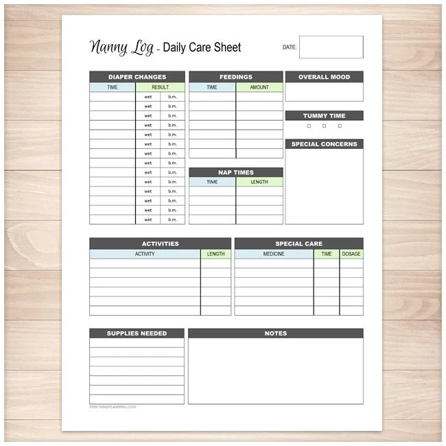 Printable Nanny Log Daily Infant Care Sheet Babysitter Etsy