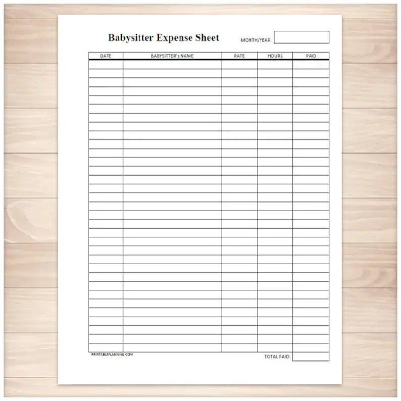 Printable Babysitter Expense Sheet Monthly Babysitter or Etsy