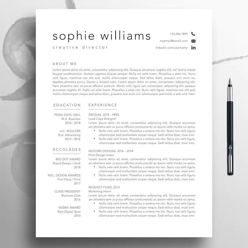 Modern Resume CV Template 1-3 Page Professional Resume Etsy
