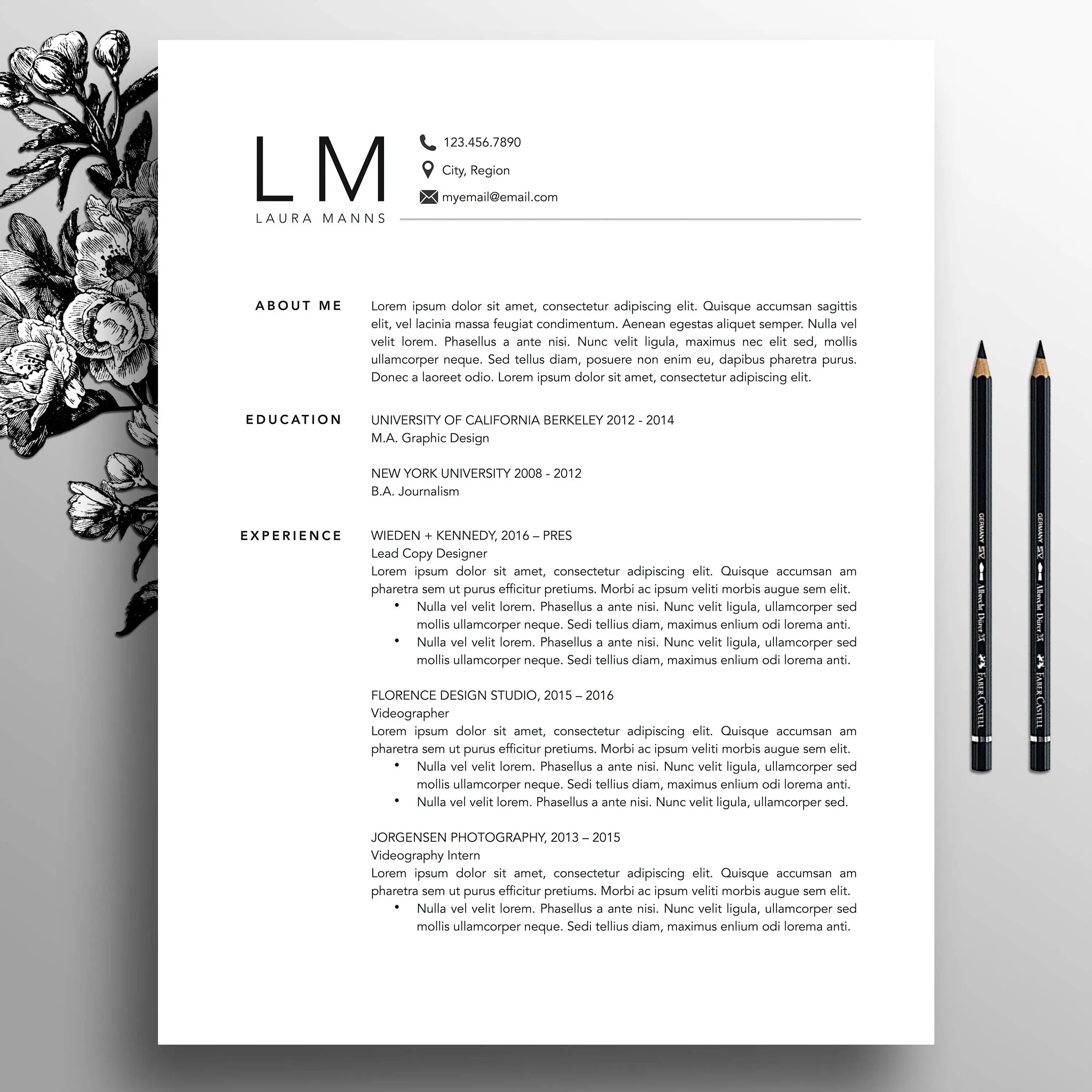 Modern Resume Template CV Template Cover Letter References Etsy
