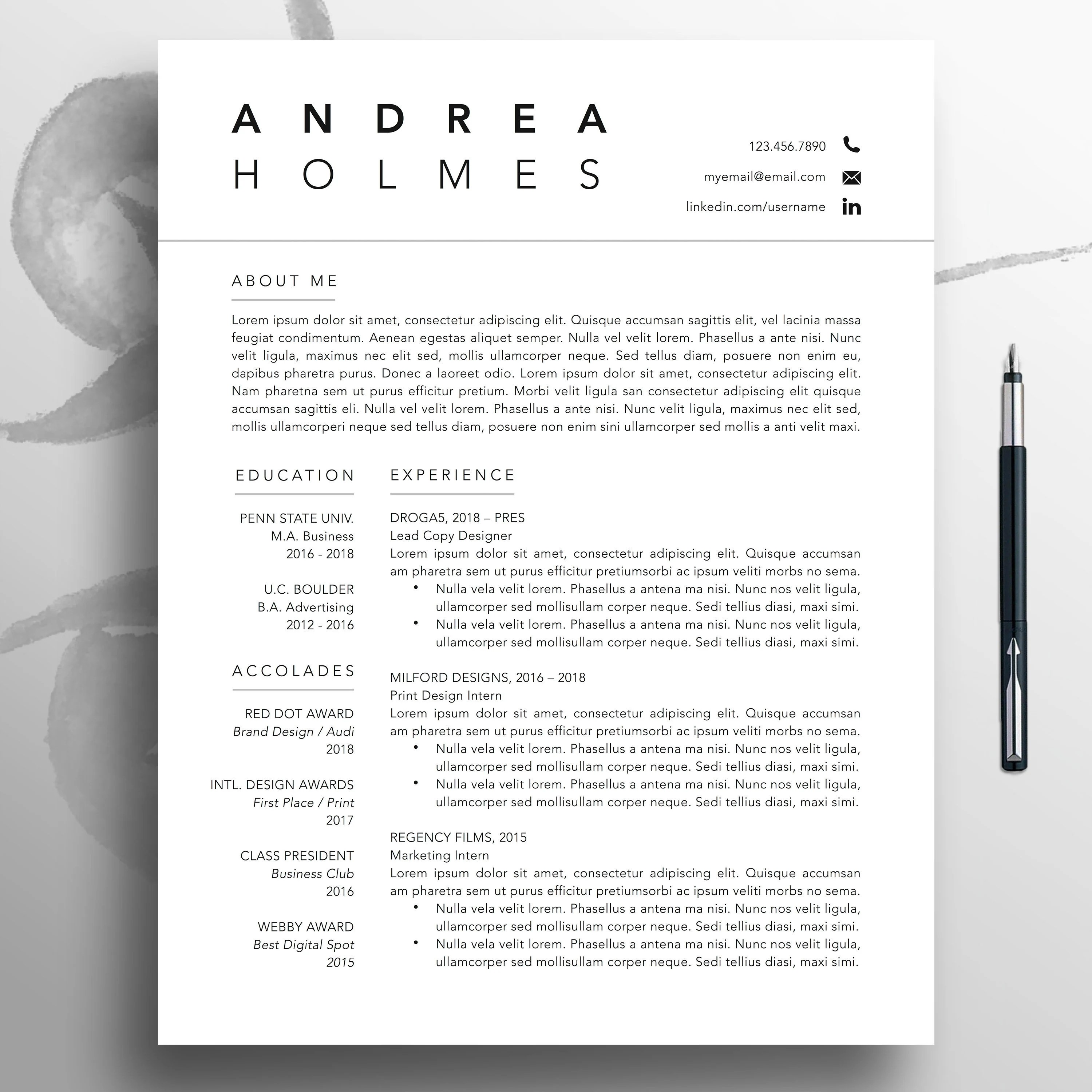 Creative Resume CV Template 3 Page Professional Template Etsy