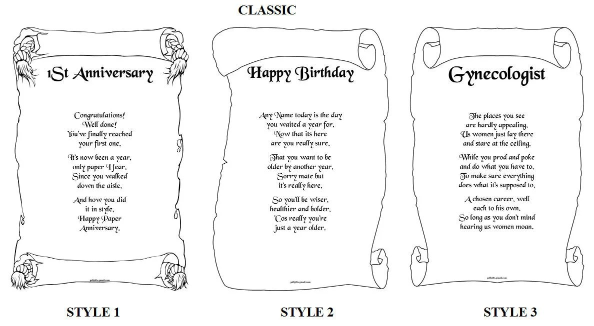 Personalized Poems Scroll Birthday Present Christmas Valentins