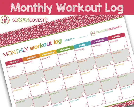 Monthly Workout Log Printable Planner Letter Size 85 Etsy - monthly workout log