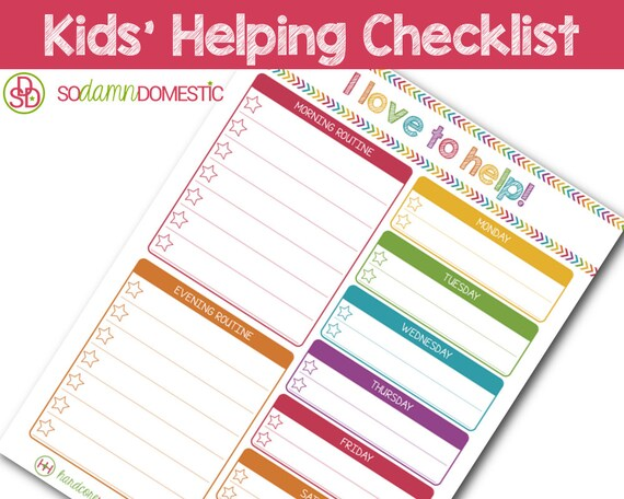 Kids\u0027 I love to help Chart Editable / Etsy