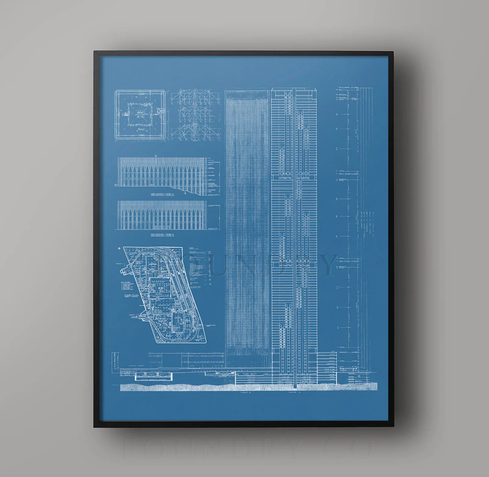 Vintage Architectural Blueprints World Trade Center Blueprint Vintage Nyc Blueprints Of World Trade Center Architecture Blueprint Building Plans Nyc Architecture
