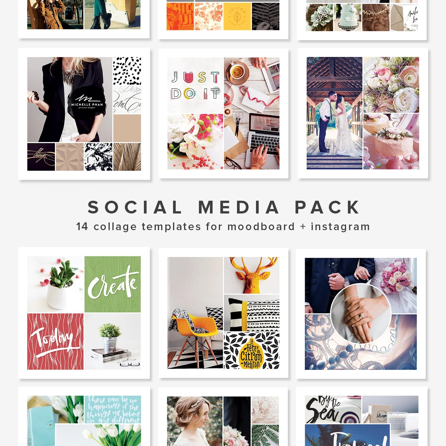 14 Square Photo Collage Templates  Moodboard Template Etsy