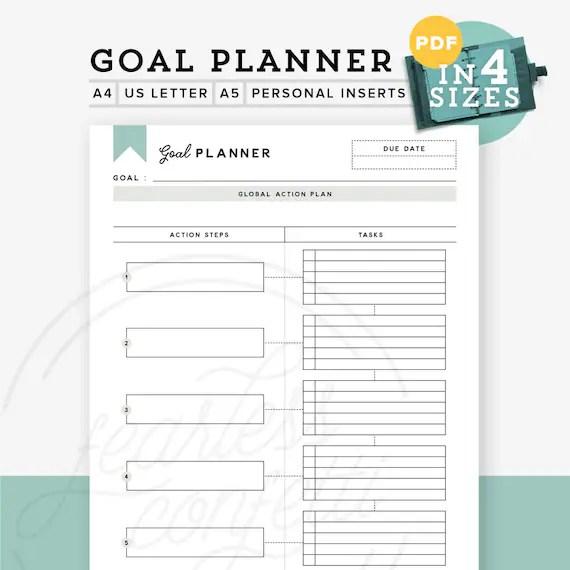 Printable Goal Planner Printable Goal Tracker Goal Planner Etsy
