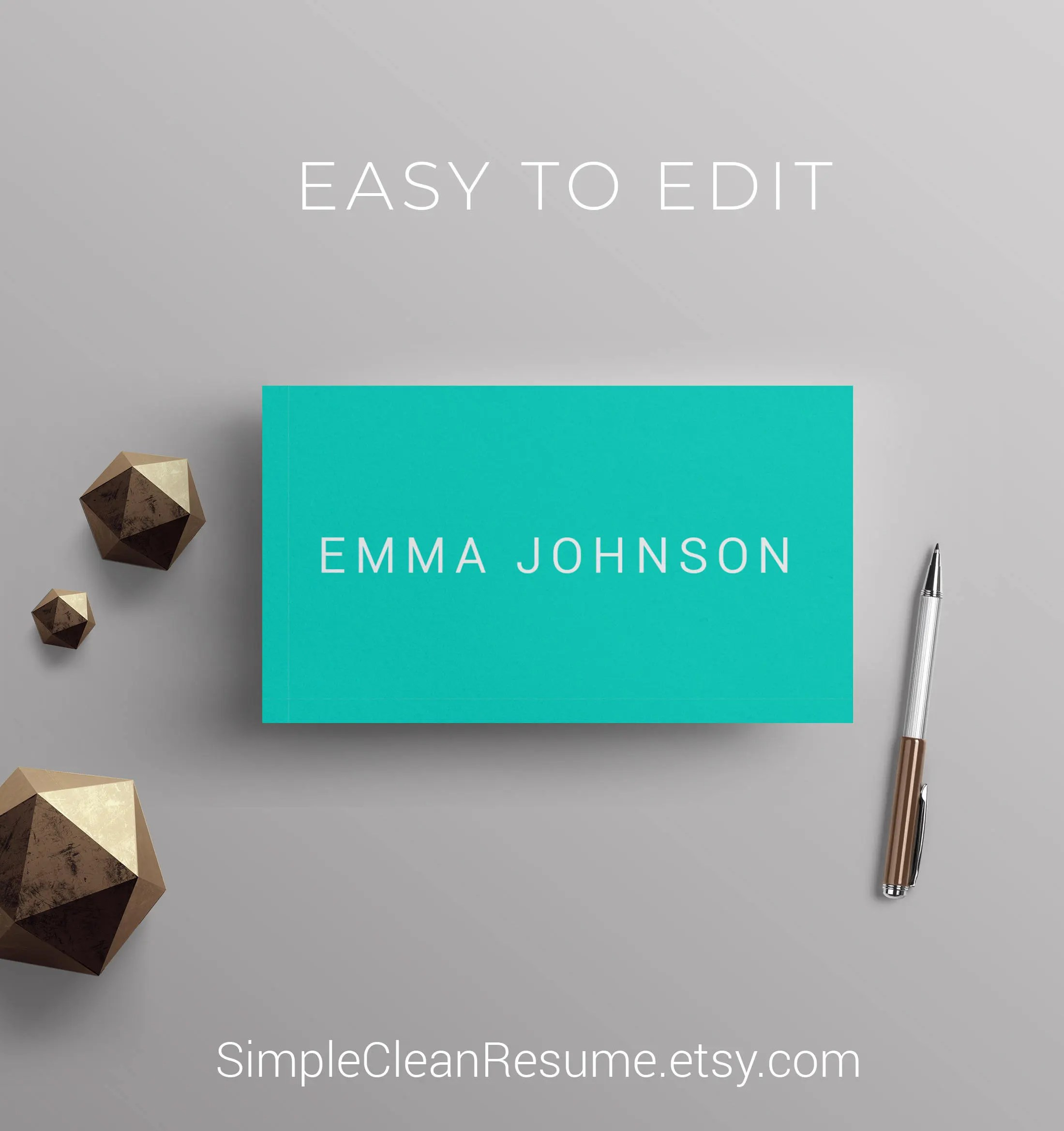 Minimalist Business Cards Template DIY Teal and White Etsy