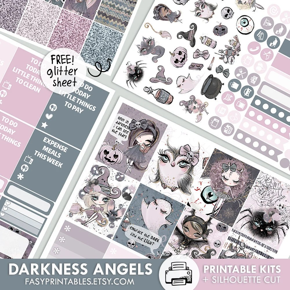 Darkness Angels KIT printable silhouette cut file Etsy