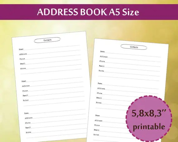 A5 Address book Filofax Contacts Page A5 Planner Printable Etsy