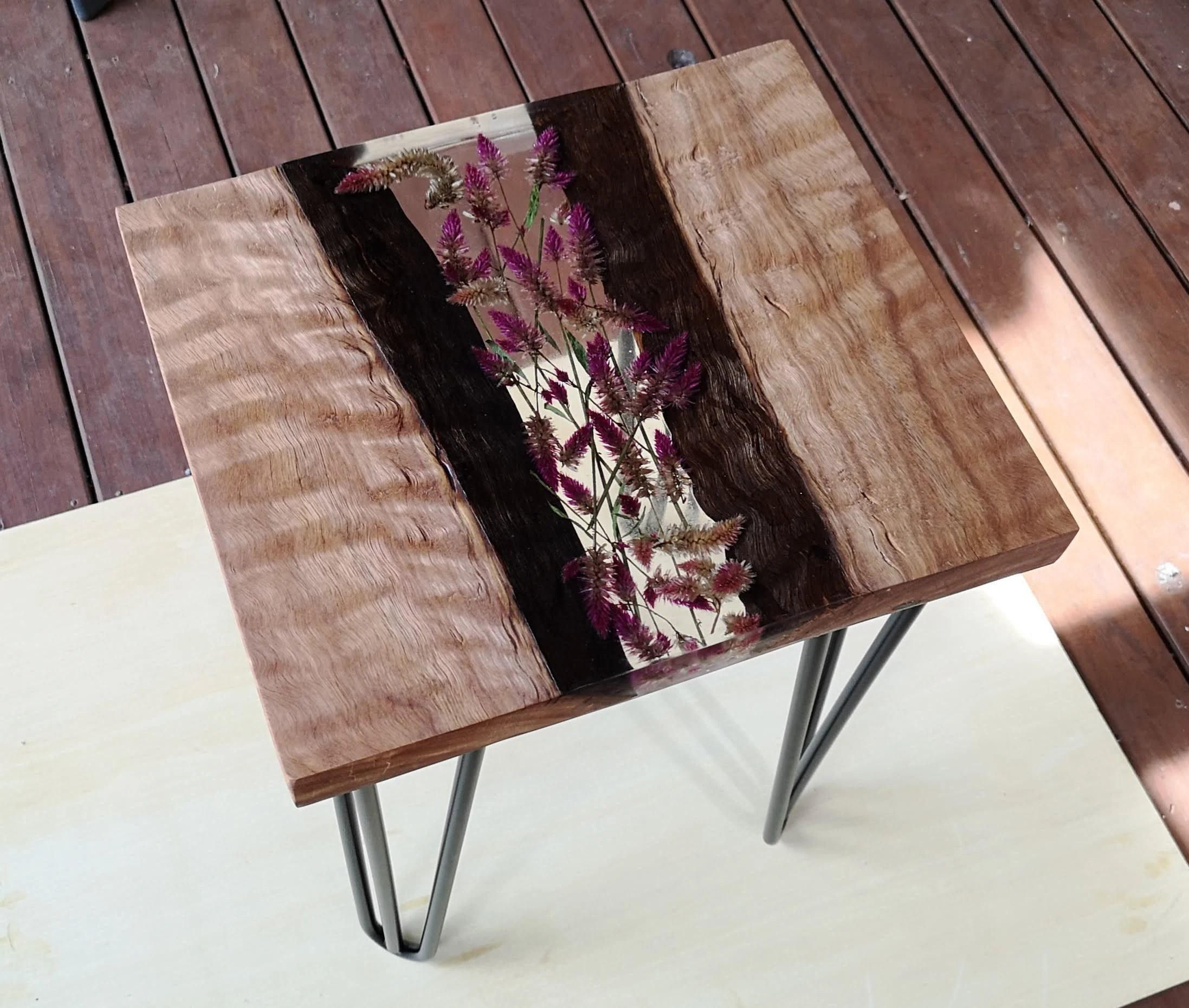 Solid Timber Coffee Table Solid Timber Coffee Table With Inlaid Dried Wildflowers