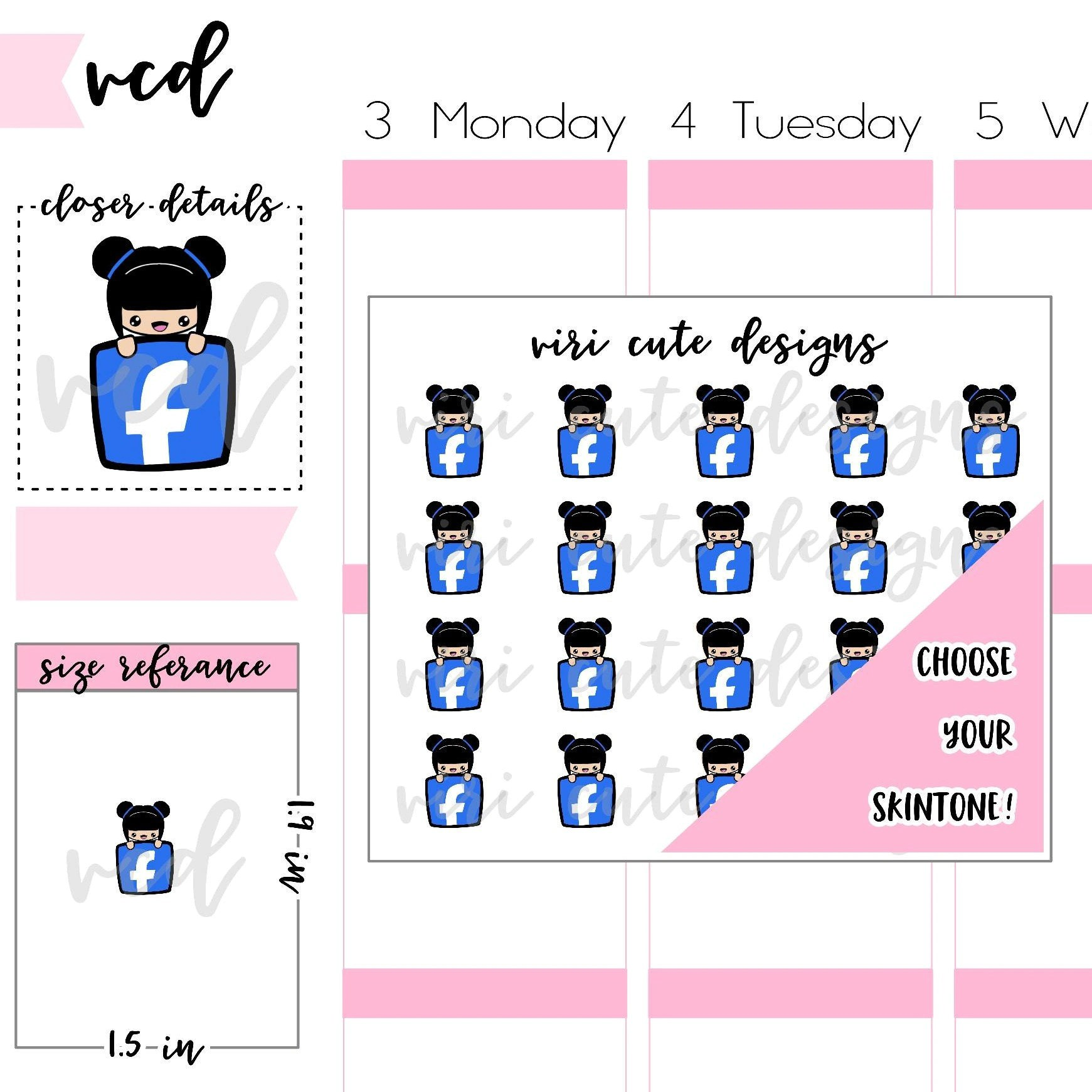 Cute Stickers For Facebook Kawaii Facebook Planner Stickers 101 Hand Drawn Icon Stickers Planner Stickers Kawaii Social Media Fb Stickers Viri Cute Designs