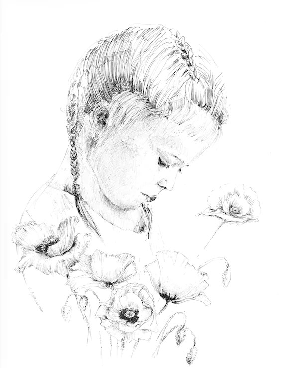 Little girl drawing of children pen and ink sketches Etsy