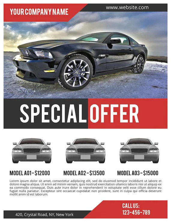 Car Sale Flyer PSD Template Commercial Flyer Template Etsy