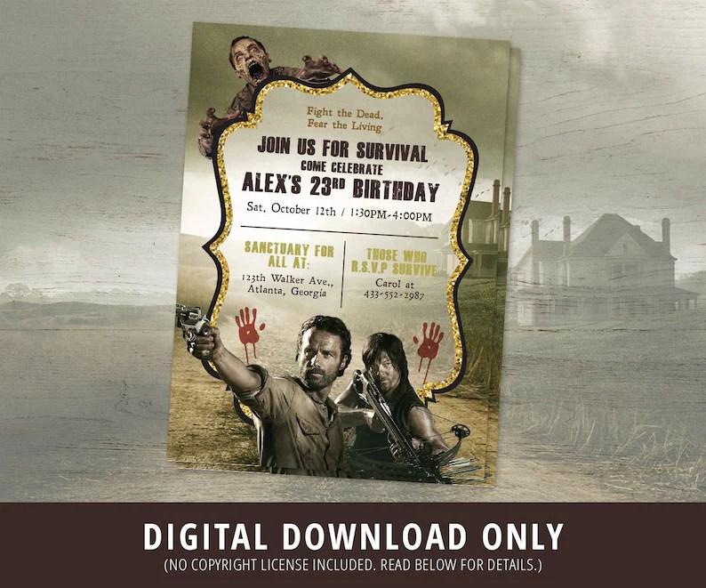 The Walking Dead Birthday Invitation The Walking Dead Etsy