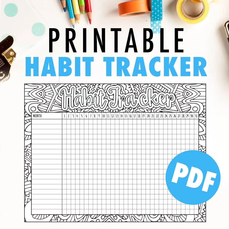 Habit Tracker Printable Monthly habit tracker or goal Etsy