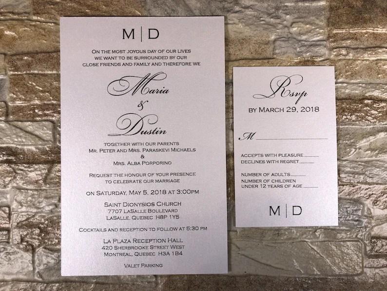 Formal Wedding Invitation Black And White Wedding Invitation Etsy