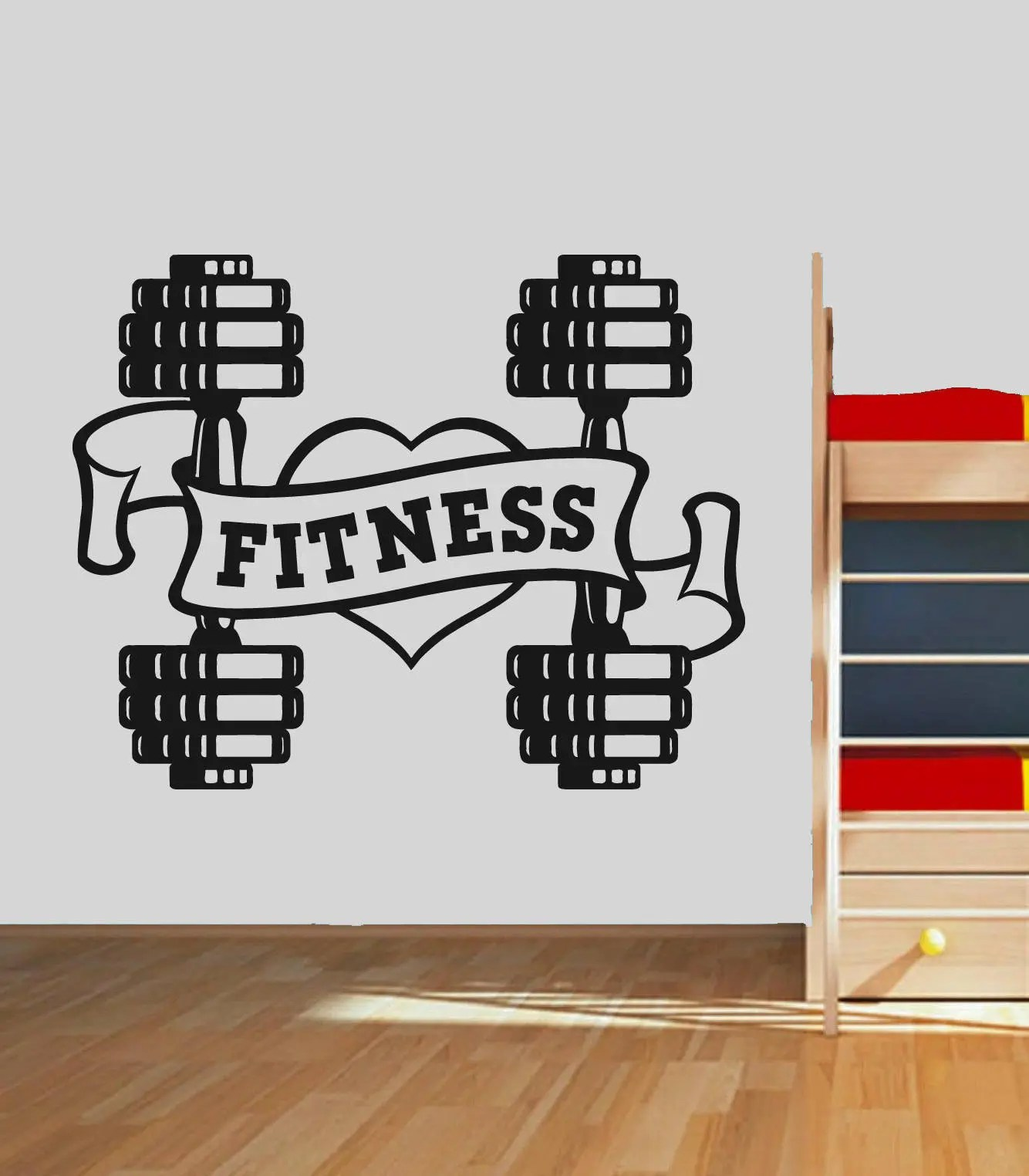 Garage Gym Wall Decor Love Fitness Wall Decal Dumbbell Fitness Wall Sticker Garage Gym Wall Decor Crossfit Motivation Wall Decal Gym Logo Wall Mural Se091