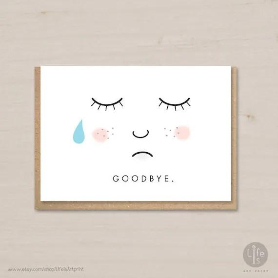 Goodbye card printable farewell card bon voyage card - printable goodbye cards
