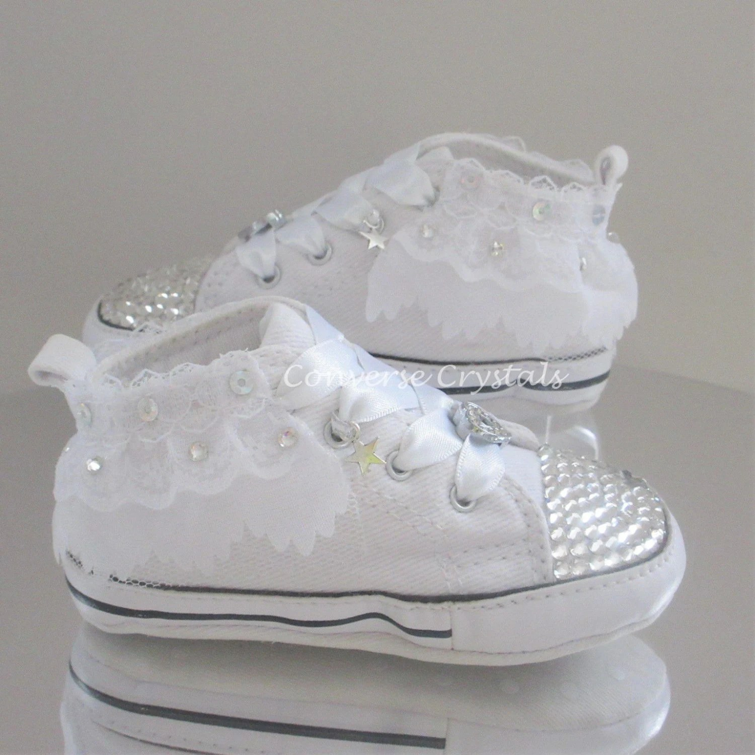 Baby White Converse Pram Shoes Baby Crib Custom Crystal Bling Converse With Lace Trim All Sizes