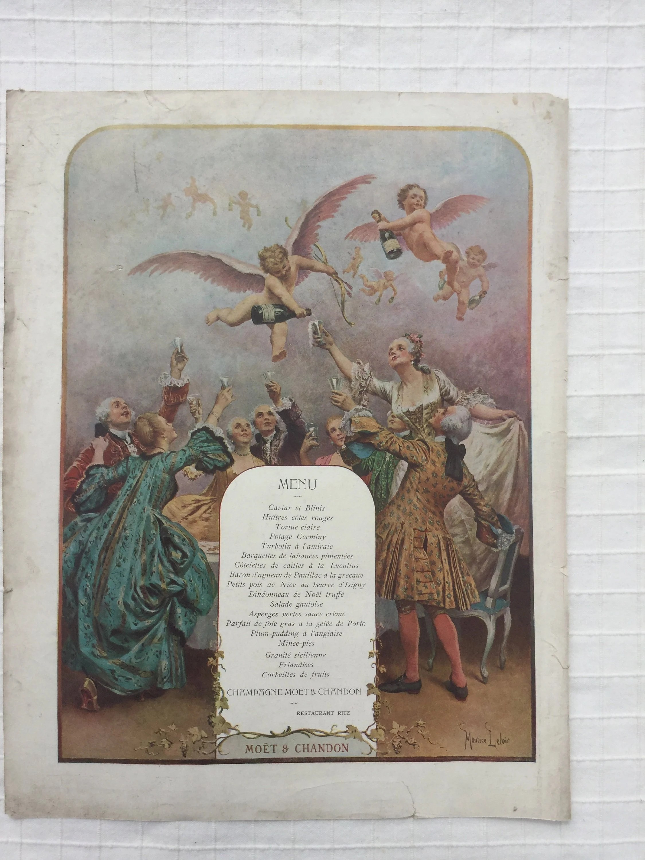 Menu De Noel Original Original French Antique Full Page Advertising For Moet Chandon From 1908 Paris Magazine Great Wall Art Poster Decorative Item