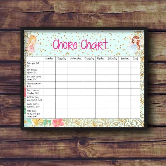 Editable Chore Chart Etsy