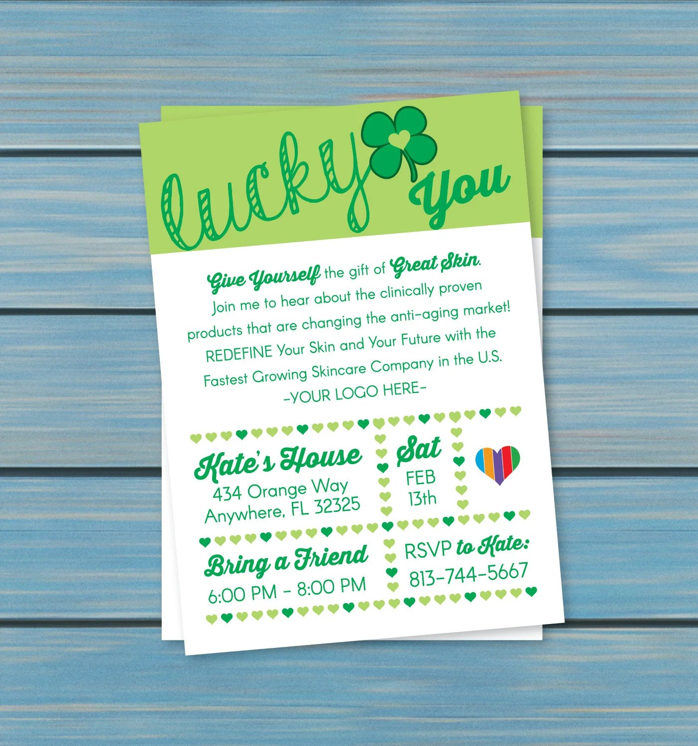 Skincare Business Event Invitation Lucky You 5x7 DIGITAL Etsy
