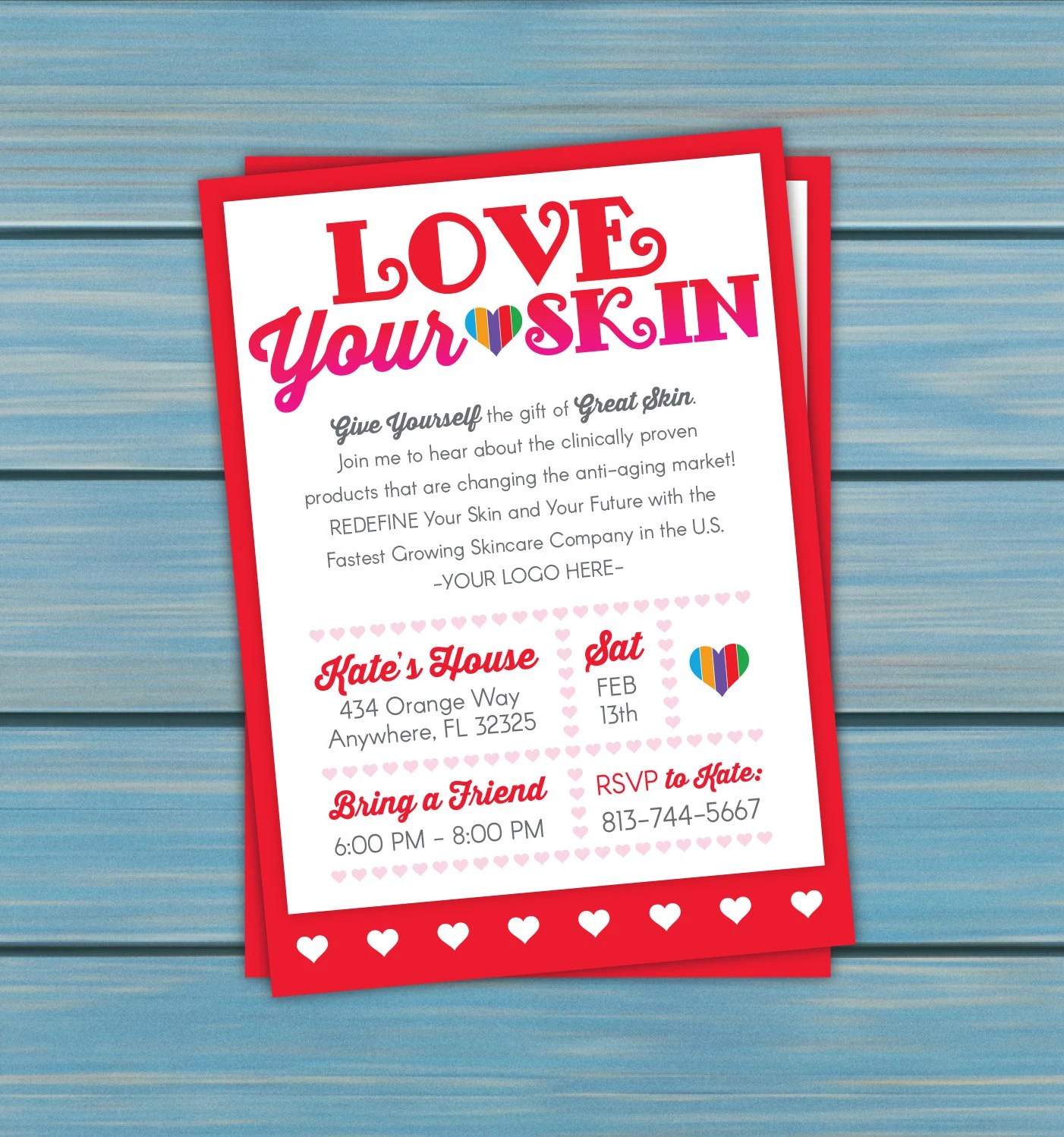 Skincare Business Event Invitation Love Your Skin Red Etsy
