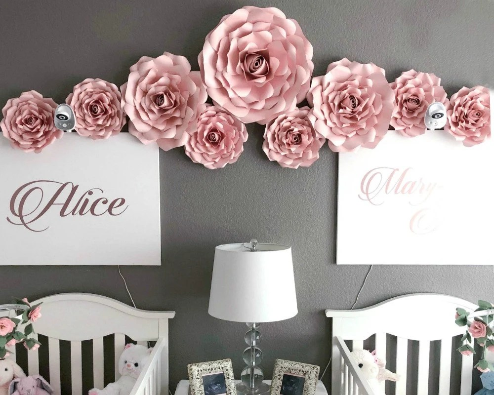DIY Paper Rose Templates Nursery Wall Decor Large Paper Etsy