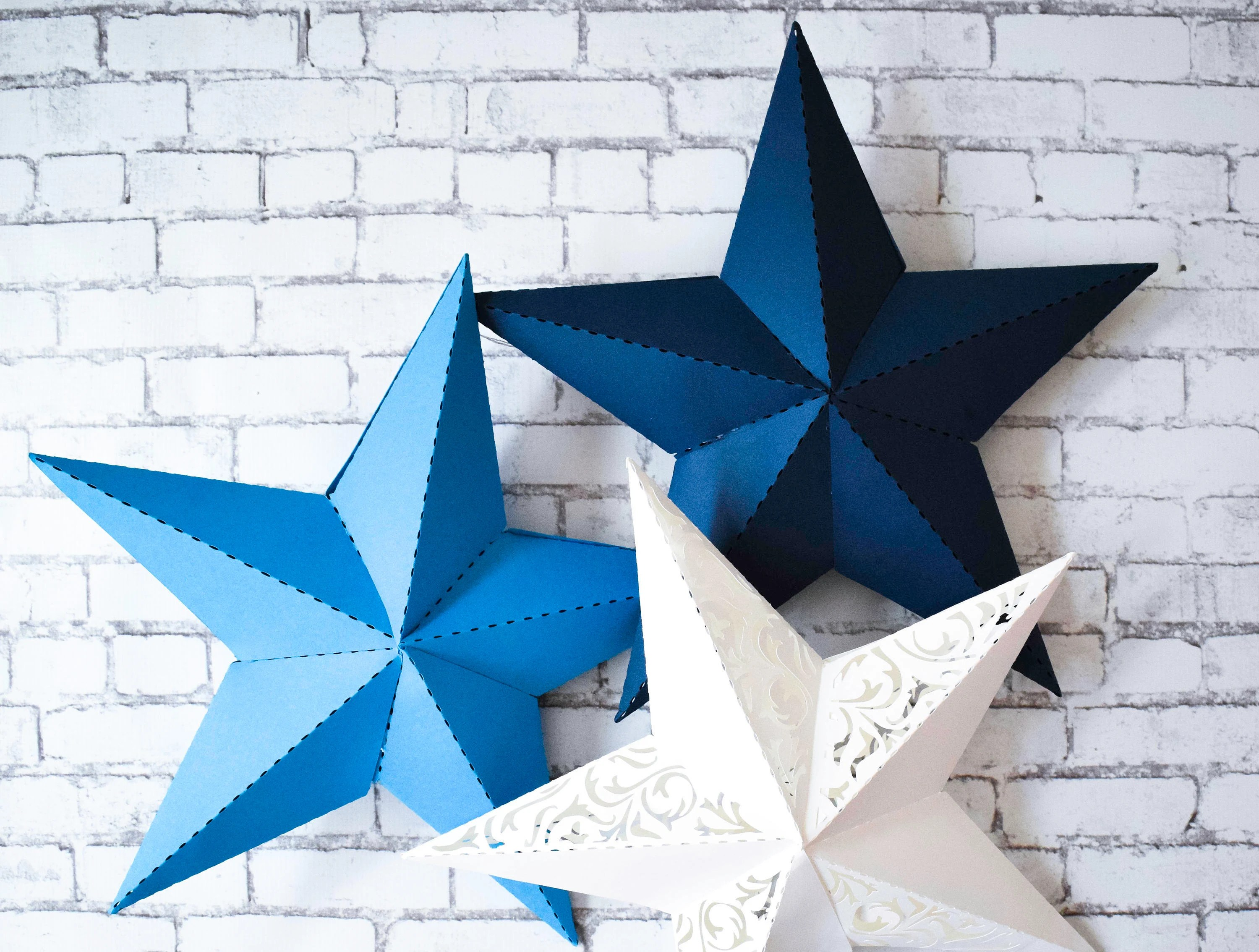 3D Paper Star Printable Template SVG Star Cut Files DXF Etsy