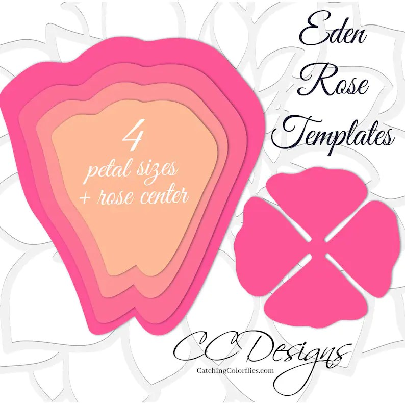 Giant Paper Rose Templates DIY Large Paper Flowers Printable Etsy