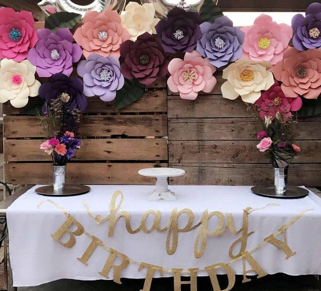 DIY Giant Paper Flowers Templates for Birthday Backdrop Decor Etsy