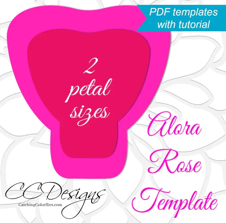 Printable PDF Paper Rose Templates Giant Paper Rose Flower Etsy