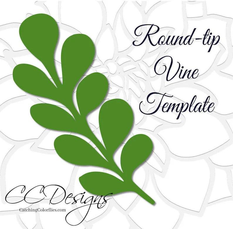 Round-tip Vine Leaf Template Paper Vine Templates Paper Leaf Etsy